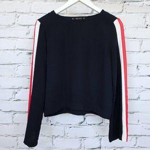 Zara Navy Blue Long Sleeve Top w Red White Stripe